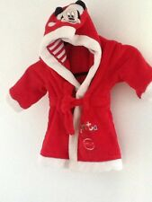 Disney store new red Mickey Mouse santa clause baby dressing gown robe sz9-12m