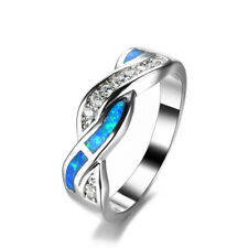 Ring Party Jewelry Gift Size 10 Women Fashion Silver Zircon Blue simulated Opal