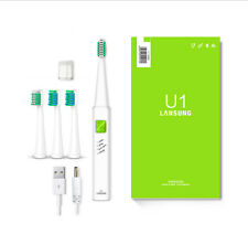 Ultrasonic Sonic Electric Toothbrush U1 USB Charge Rechargeable 4 heads Green