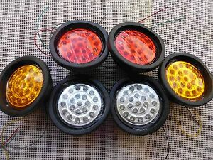 12V 130(105)mm Six Pieces Round 21 LED #022 Tail Lights 4 Ute Trailer Truck Bus