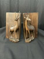 Vintage Mid-Century Hand Carved Wood Antelope Gazelle Wooden Bookends *295