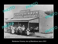 OLD LARGE HISTORIC PHOTO OF WARBURTON VICTORIA, HUTCHISONS GENERAL STORE c1913