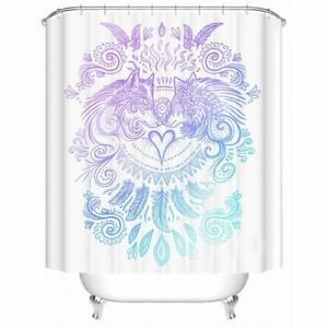 Shower Curtain Waterproof Wolf Tribal Bath Curtain With Hooks 180x180