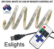 2M 5V COOL WHITE LED STRIP LIGHT REMOTE USB KIT BACKGROUND LIGHTING TV PC LAPTOP