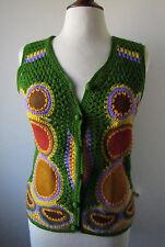 Womens Vintage 60s AWARE Acrylic Leather Sweater Vest Hippie Mod Disco ~ L (N13)