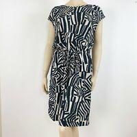 Ann Taylor LOFT Women Sheath Dress Large Short Short Sleeve Geometric Print Blue