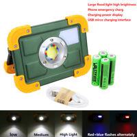 Portable USB 30W COB LED 4 Modes Flood Light Spot Camping Outdoor Work 4x18650