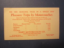 Old Vintage 1920's Hart Motorcoach Co. BOSTON - Mohawk Trail Pleasure Trips CARD