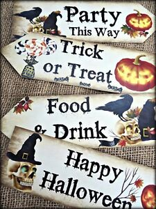 Set of 4 Halloween Pumpkin Trick or Treat Party Decoration Arrow Signs