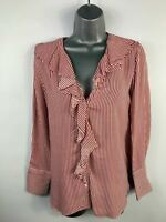 WOMENS ZARA RED/WHITE STRIPED V NECK RUFFLE LONG SLEEVE BLOUSE/SHIRT TOP SIZE XS