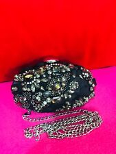 Karen Milen Embellished Clutch Bag with detachable chain silver strap