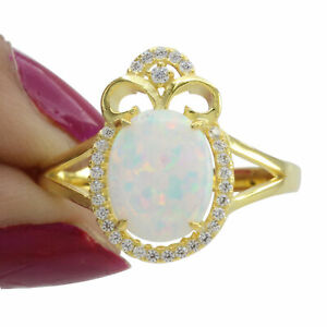 Oval White Opal D VVS1 Diamond Halo Cocktail Ring 14K Yellow Gold Over $999