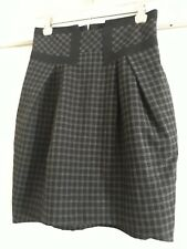 Cue Size 6 Black/ Grey Check Skirt Shaped Waistband