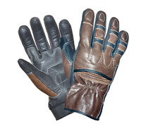 Mens Brown Leather Motorcycle Full Finger Gloves 8392