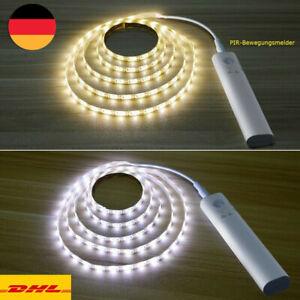 1/2/3m LED Stripe mit PIR-Bewegungsmelder Lichtband Streifen Batteriebetrieb DHL