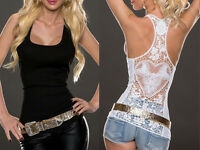 Fashion Summer Women Lace Back Tank Tops Vest Blouse Sleeveless Tops T Shirt ina