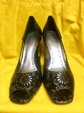Women's High Heel Pumps BCBGirls Peep Toe Platform Black Silver Size 8 BCBG