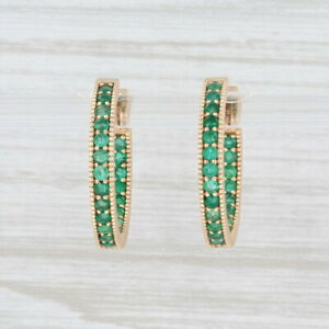 New Nina Nguyen Intricate Inside Out Emerald Hoop Earrings 18k Yellow Gold