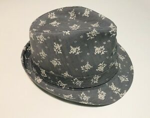 Women Trilby/FedoraHat Gray Plique a Jour w/ Flowers /FloralNarrow Brim ONE Sz