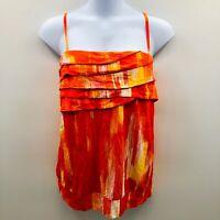 Lane Bryant Womens Size 26/28 Sleeveless Fun & Flirty Tank Top Ruffle Orange 676