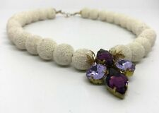 White Hawaii Coral necklace with handcrafted Purple Swarovski crystals pendant