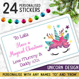 24 Personalised UNICORN Merry Christmas Stickers for Gift Wrapping Presents
