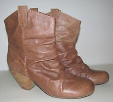 BLOWFISH MALIBU Women SZ 10 Brown Faux Leather BOOTS RUCHED Block Heel Ankle
