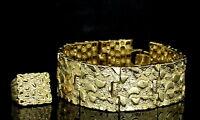 Mens 2pc Nugget Design Bracelet Ring Set 14k Gold Plated Hip Hop Jewelry