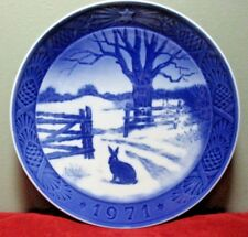 """Royal Copenhagen 1971 Christmas Collector Plate ~ """"Hare In Winter"""" by Kai Lange"""