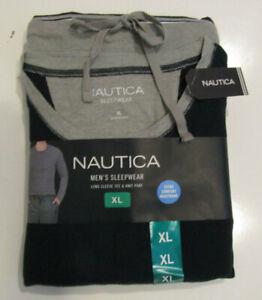 NAUTICA Sleepwear Set Navy Blue Thermal Shirt Gray Knit Pants Sz M Mens NIP