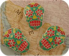 "2 Hole Beads Sugar Skulls ""Day of the Dead"" Crystal Eyes Multi Color Slider 3pc"