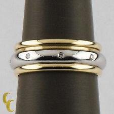 18K Two Tone Gold MC Paris Spinner Ring Diamonds Great Gift