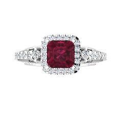 Round & Princess 1.92 Ct Real Diamond Ruby Rings 14K White Gold