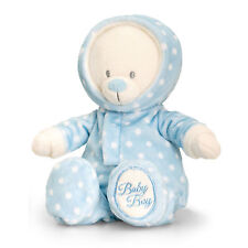 New Baby Boy Gift Teddy Bear Soft Plush Toy by Keel Toys - BLUE ROMPER SUIT