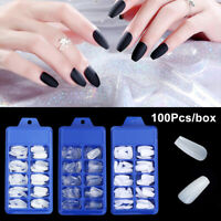 Acrylic Clear/White/Natural False Nail Tips Manicure UV Gel Coffin Fake Nails