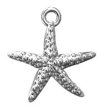 ONE STERLING SILVER STARFISH CHARM / PENDANT WITH INTEGRAL CLOSED RING, 16 MM