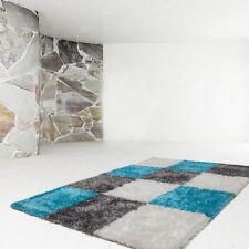 Karierte Wohnraum-Teppiche im Hochflor -/Shaggy -/Flokati-Stil aus Polyester
