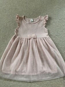 H&M Baby Girls Pale Pink Bow Occasion Wedding Party Dress 18-24 Months