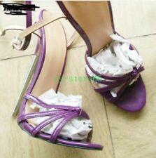 Womens Peep Toe 18cm Super High Heel Shoes Ankle Strap Nightclub Sandals Plus 12