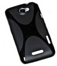 X-Rubber móvil silicona TPU Cover negro para HTC One X + protector de pantalla