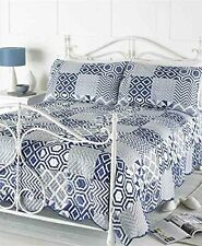 Blue & White Patchwork Bedspread Comforter Throw Double & King Size 240 x 260 cm
