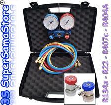3S MANIFOLD Jauge de réfrigération R134a R407c R404A R22 avec coupleurs rapides