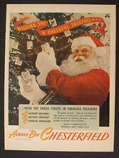 1945 Chesterfield Cigarettes Pack Christmas Tree Santa Vintage Photo Print AD
