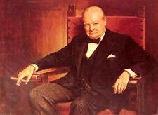 "Dream-art Oil painting male portrait Sir Winston Churchill smoking in chair 36"""