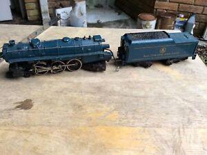 Vintage Baltimore and Ohio Metal Model Train Engine and Coal Car Blue Mantua