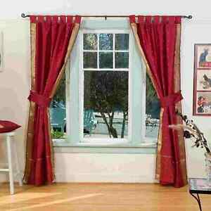 Indo Maroon  Tab Top Sari Sheer Curtain (43 in. x 84 in.) with matching tieback