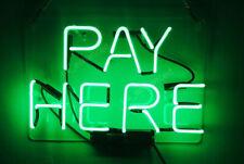 "14""x9""Pay Here Neon Sign Light Shop Bistro Pub Wall Decor Handmade Nightlight"