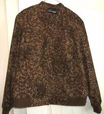 Norton McNaughton Woman BROWN TAN Leopard Print WOW CHIC  long sleeve JACKET 1X