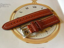 NEW 22MM ROBUST BROWN BUFFALO CALF LEATHER WRIST WATCH STRAP. CHROME BUCKLE.