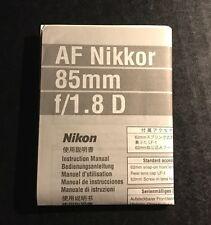 Nikon AF Nikkor 85mm f/1.8D Lens -Genuine Instruction Manual